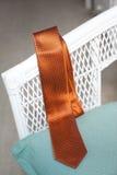 Pomarańczowa i czarna polka kropkujący krawat Obraz Stock
