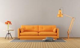 Pomarańczowa kanapa w nowożytnym pokoju ilustracja wektor