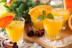 Pomarańczowa korzenna ajerówka z macierzanką i mennicą Fotografia Stock