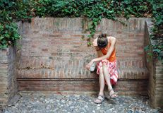 pomarańczowa nieszczęśliwa kobieta Zdjęcia Royalty Free