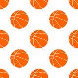 Pomarańczowa płaska koszykówki piłka, wektorowa ilustracja odizolowywająca na białym tle bezszwowy wzoru royalty ilustracja