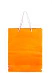 Pomarańczowa papierowa torba odizolowywająca Zdjęcie Royalty Free