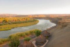 Pomarańczowa Rzeczna Namibia i Południowa Afryka granica Fotografia Royalty Free