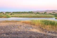 Pomarańczowa Rzeczna Namibia i Południowa Afryka granica Zdjęcie Royalty Free