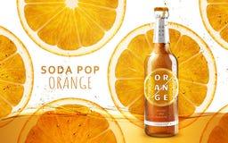 Pomarańczowa sodowanego wystrzału reklama royalty ilustracja