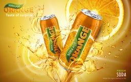 Pomarańczowa sodowanego wystrzału reklama ilustracja wektor