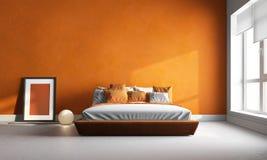 Pomarańczowa sypialnia obraz stock