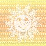 Pomarańczowa tekstura z wzorami i słońcem Obraz Stock