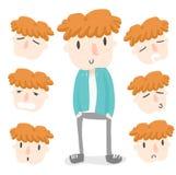 Pomarańczowa włosiana chłopiec emocja Obraz Royalty Free