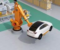 Pomarańczowa wagi ciężkiej mechaniczna ręka niesie białego SUV w zgromadzenie fabryce royalty ilustracja
