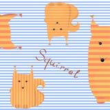 Pomarańczowa wiewiórka na pasiastym tle Fotografia Stock