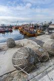 Pomarańczowe łodzie rybackie w Mar Del Plata, Argentyna Zdjęcia Royalty Free