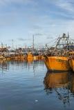 Pomarańczowe łodzie rybackie w Mar Del Plata, Argentyna Zdjęcie Royalty Free