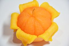 Pomarańczowe świeczki - pomarańcze, zaświecać, pomarańczowe świeczki, Obraz Royalty Free