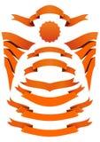 Pomarańczowe faborek ikony ustawiać Żółta sztandar kolekcja ilustracja wektor