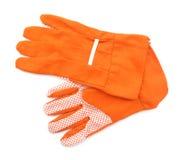 Pomarańczowe ogrodowe rękawiczki Zdjęcie Royalty Free