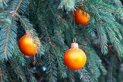 Pomarańczowe piłki na świerczynie, część choinka z Bożenarodzeniowymi dekoracjami zdjęcie stock