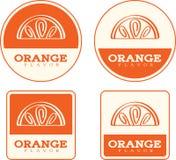 Pomarańczowe smaku jedzenia etykietki ilustracja wektor