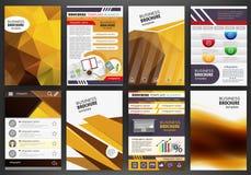 Pomarańczowego broszurka szablonu pojęcia abstrakcjonistyczny infographics i ikony Obraz Royalty Free