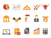 Pomarańczowego i czerwonego koloru giełdy papierów wartościowych ikony ustawiać Obrazy Royalty Free