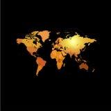 Pomarańczowego koloru światowa mapa na czarnym tle Kula ziemska projekta tło Kartografia elementu tapeta Geograficzne lokacje royalty ilustracja