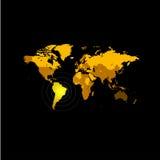 Pomarańczowego koloru światowa mapa na czarnym tle Kula ziemska projekta tło Kartografia elementu tapeta Geograficzne lokacje ilustracja wektor