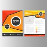 Pomarańczowego koloru żółtego sprawozdania rocznego prezentaci szablonu elementów czerwonej ikony płaski projekt ustawia dla rekl Zdjęcie Stock