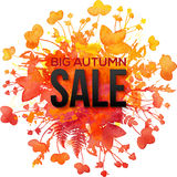 Pomarańczowego ulistnienia pluśnięcia jesieni sprzedaży Duży sztandar Zdjęcia Stock