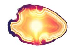Pomarańczowego wschodu słońca odbicia agata plasterka round kopalina odizolowywająca na bielu Obrazy Stock