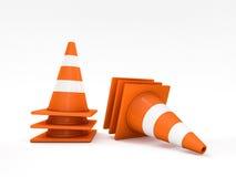 Pomarańczowi droga rożki z lampasami 3d Zdjęcia Stock
