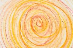 Pomarańczowi kredka okręgi na papierowej rysunkowej bacground teksturze Fotografia Stock
