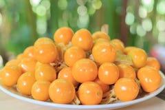 Pomarańczowi Organicznie przylądków agresty w talerzu Obrazy Royalty Free