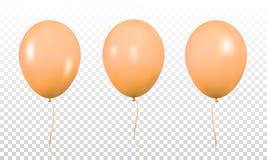 Pomarańczowi realistyczni balony Set realistyczny hel szybko się zwiększać dla urodziny royalty ilustracja