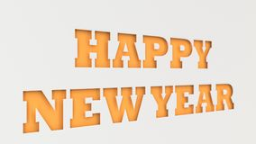 Pomarańczowi Szczęśliwi nowy rok słowa cią w białym papierze Obrazy Stock