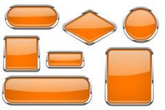 Pomarańczowi szkło guziki z chrom ramą Barwiony set błyszczące 3d sieci ikony ilustracji