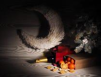 Pomarańczowi tangerines zbliżają zim drzewa piłek bożych narodzeń odosobniony nastroju trzy biel Obrazy Stock