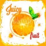 Pomarańczowi wektorowi soczyści wzory pokrojona owoc Obrazy Royalty Free