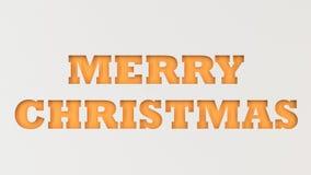 Pomarańczowi Wesoło bożych narodzeń słowa cią w białym papierze Obraz Stock