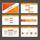 Pomarańczowi Wielocelowi Infographic elementy i ikony prezentaci szablonu płaski projekt ustawiają dla reklamowej marketingowej b Fotografia Royalty Free
