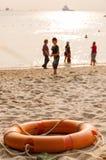 Pomarańczowy życia boja na plaży Obrazy Stock