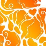 Pomarańczowy abstrakcjonistyczny kształta tło z sercem Zdjęcie Stock