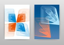 Pomarańczowy błękitny Isometric 3D E i b listy projekt dla broszurki, ulotka, plakat Isometric prążkowany E, b abecadeł tła wekto ilustracja wektor