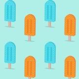 Pomarańczowy błękitny koloru lody na drewnianym kija wzoru tle Płaski projekt Fotografia Royalty Free