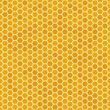 Pomarańczowy bezszwowy miód grępli wzór Honeycomb tekstura, heksagonalny honeyed grzebieniowy wektorowy tło royalty ilustracja