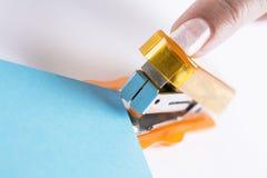 Pomarańczowy biurowy stapeler Zdjęcie Stock