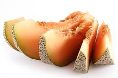 Pomarańczowy cantaloup pięć kawałków Fotografia Royalty Free