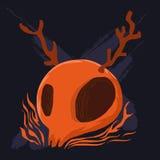 Pomarańczowy cranium i poroże ilustracja wektor