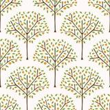 Pomarańczowy cytrusa owocowy drzewo z liśćmi Ręka Rysująca Bezszwowa deseniowa ilustracja ilustracji
