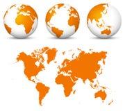 Pomarańczowy 3D świat - Płaska Wektorowa kuli ziemskiej ikona Ustawiająca z Undistorted 2D royalty ilustracja