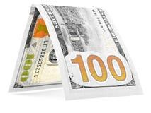 Pomarańczowy dolar składał w połówce, pieniądze buda, waluta kąt odizolowywający Zdjęcia Stock